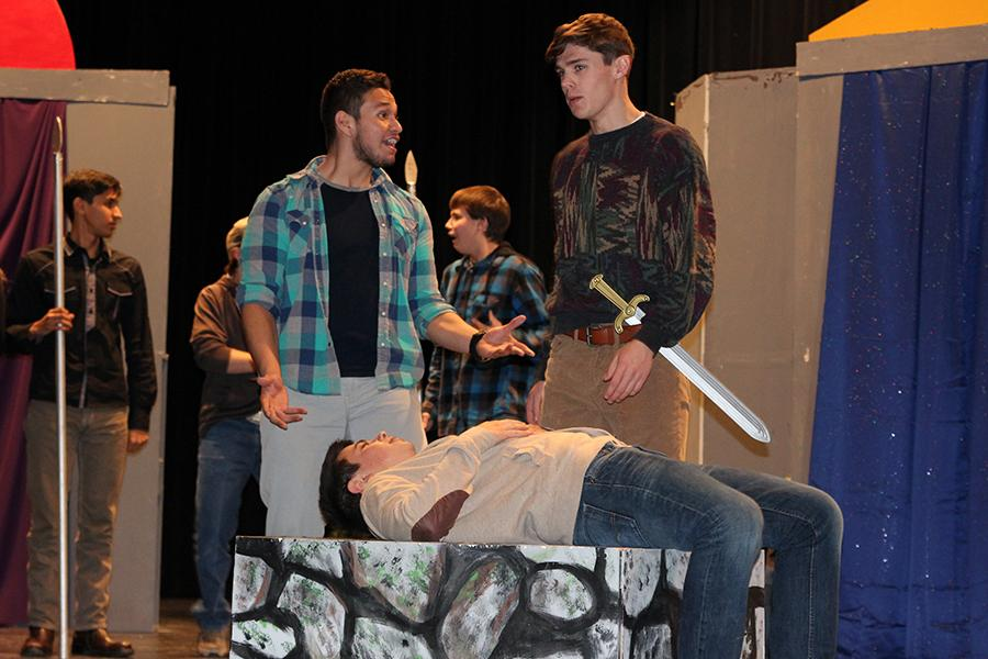 Junior Ismael Granda, sophomore Maverick Evans and junior Nick Yarbrough rehearse the play