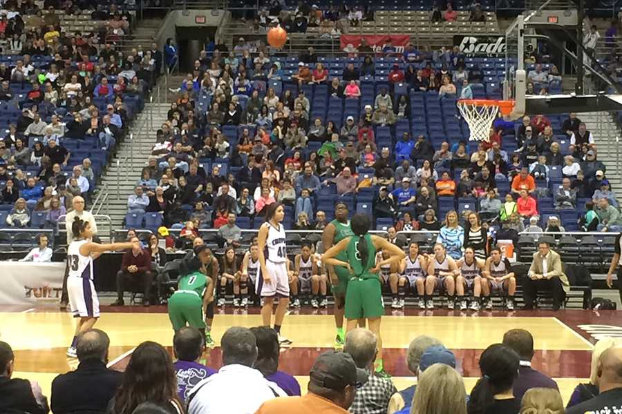 Sophomore Angel Hayden shoots a free throw in the fourth quarter of the state championship game against Dallas Bryan Adams High School March 7.