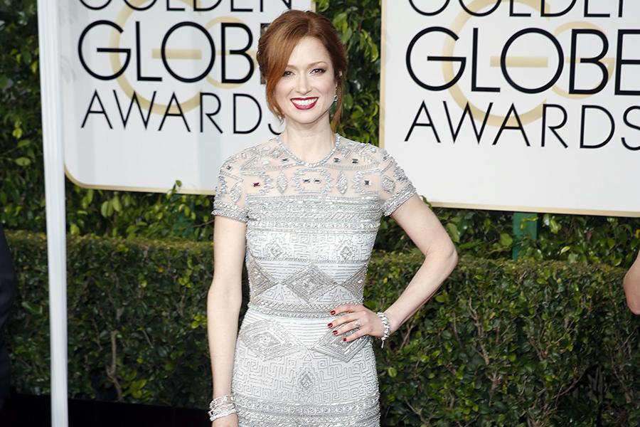 Ellie Kemper arrives at the 72nd Annual Golden Globe Awards show at the Beverly Hilton Hotel in Beverly Hills, Calif., on Sunday, Jan. 11, 2015.