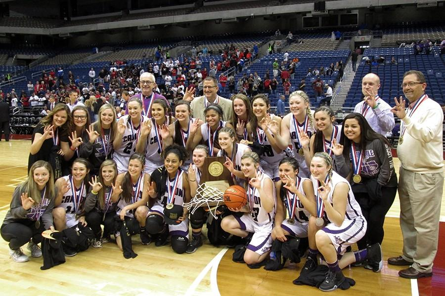 The+Lady+Eagles+varsity+basketball+team+won+the+State+Championship+for+the+third+year+in+a+row.