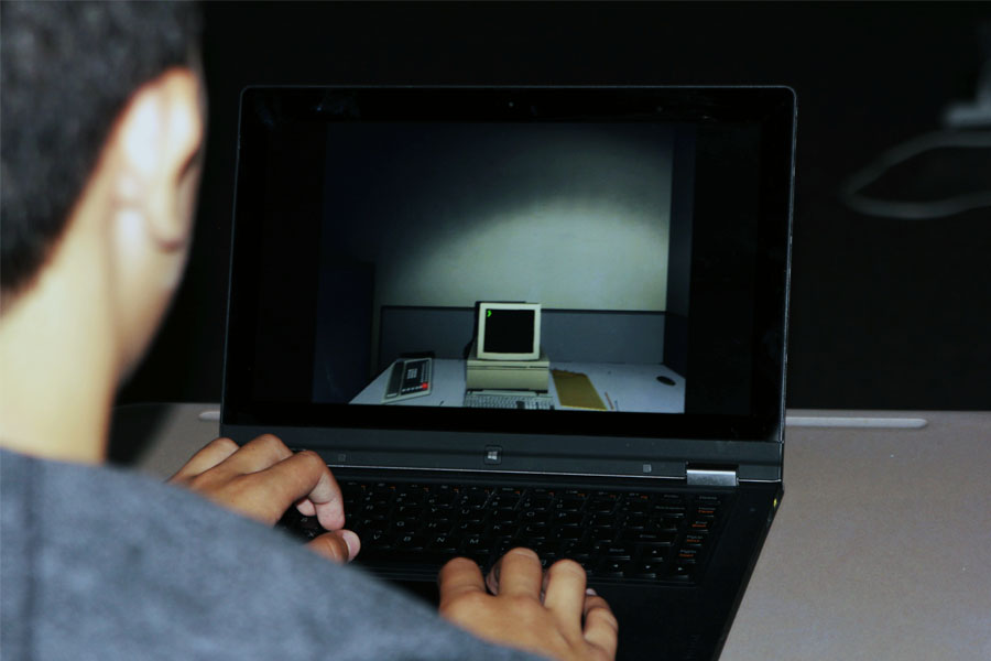 Staff member and gamer John Flatt demonstrates The Stanley Parable.