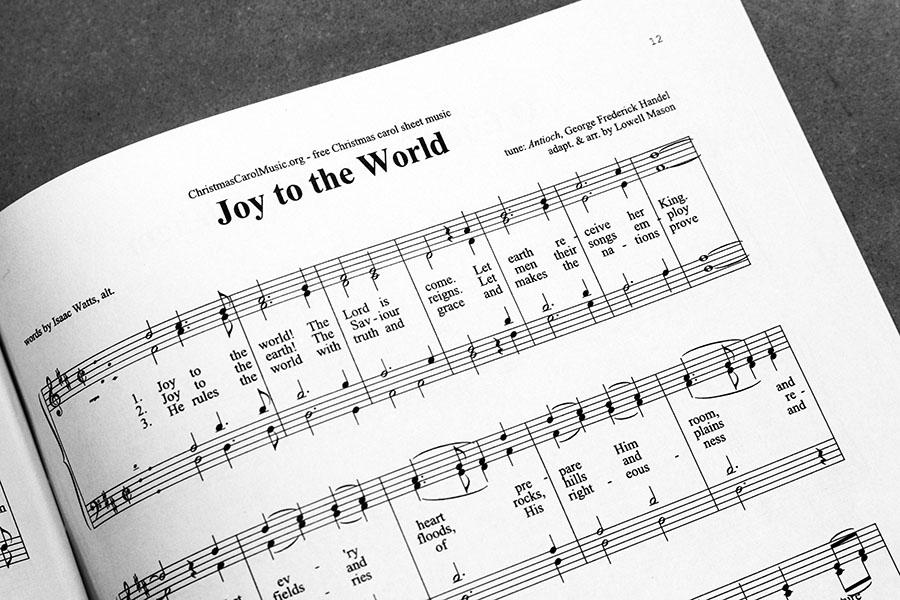 Selections from the choir concert include Joy to the World.