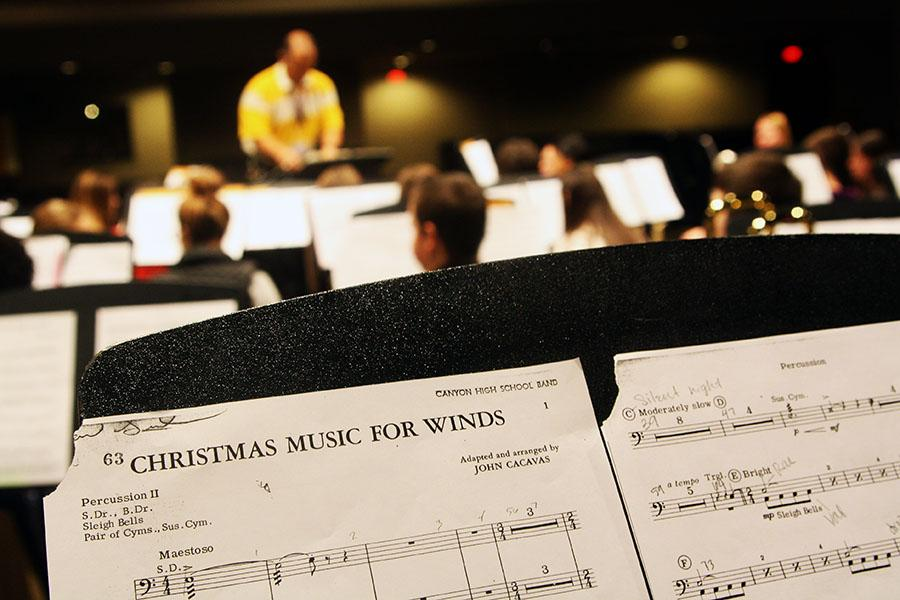 The band practices for their Dec. 13 winter concert .
