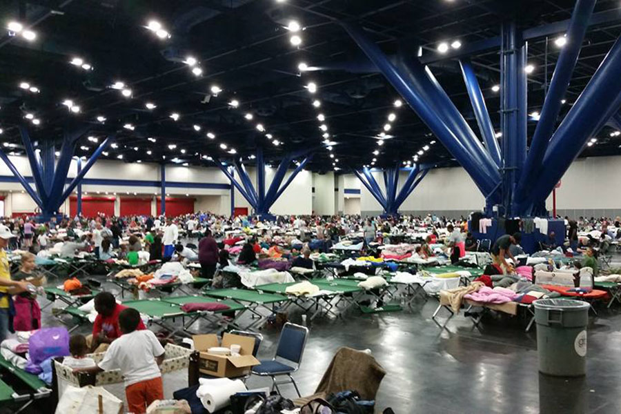 The George R. Brown Convention Center in Houston sheltered more than 10,000 victims of Hurricane Harvey.