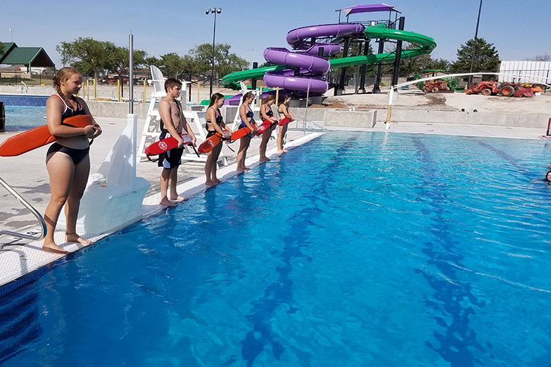 Students line up to swim at the Canyon Aqua Park.