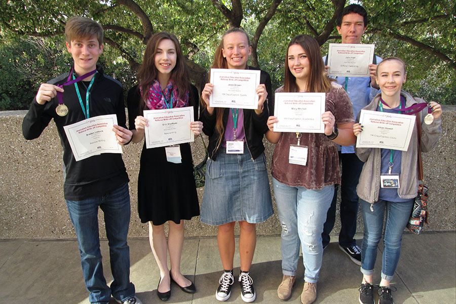 Braden Lefevre, Erin Sheffield, Josie Brown, Macy Mitchell, John Flatt and Jillian Howell each earned individual awards in JEA write-off contests at the JEA/NSPA National Journalism Convention.