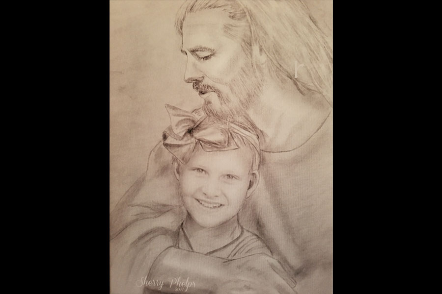 A portrait of Tatum with Jesus hangs in the Schulte home. The art was drawn by Sherry Phelps for the Schulte family.