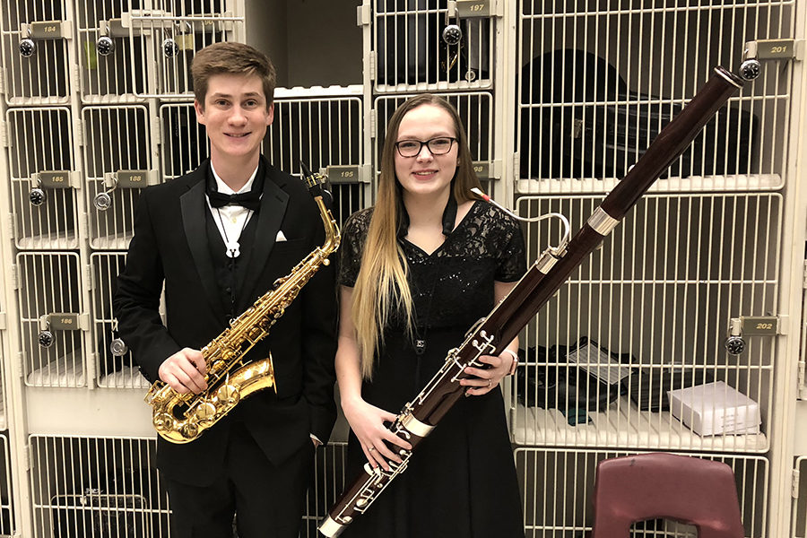 Senior+Braden+Lefevre+and+Junior+Meghan+Brooks+qualified+for+the+Texas+All-State+Band.
