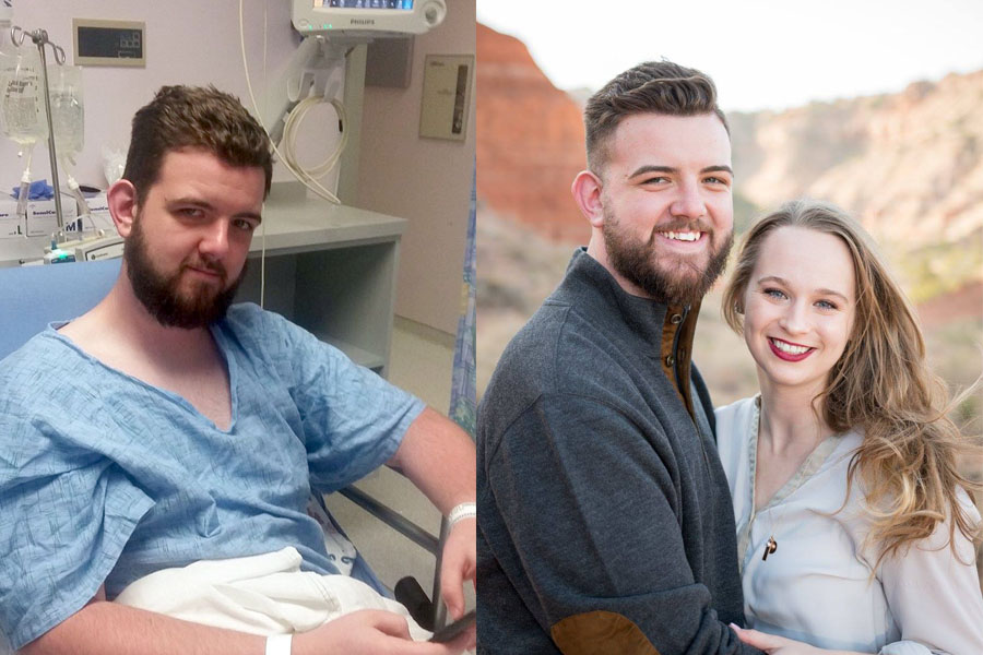 Left: Myles Smith awaits surgery in June 2017.  Right: Smith is planning a 2018 wedding to Hannah Yock.
