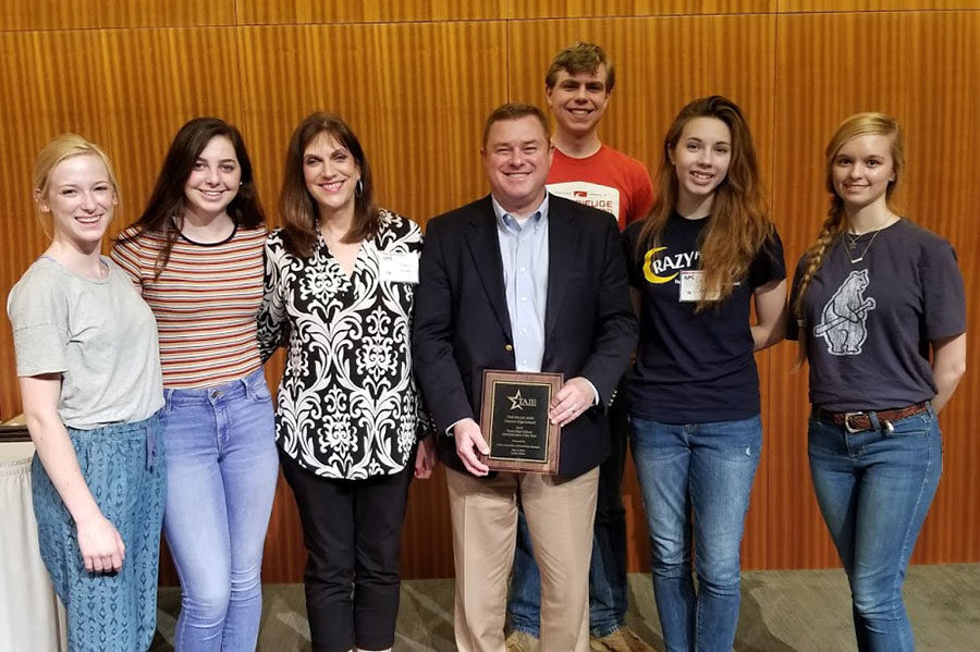 Junior Katelyn Spivey, sophomore Haley Williams, newspaper and yearbook adviser Laura Smith, senior Jaren Tankersley, junior Erin Sheffield and sophomore Macy McClish attended the Interscholastic League Press Conference where Principal Tim Gilliland was named TAJE Administrator of the Year.