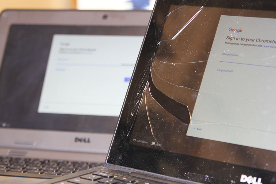 Students will turn in Chromebooks May 14, 15, and students will be fined for broken Chromebooks.