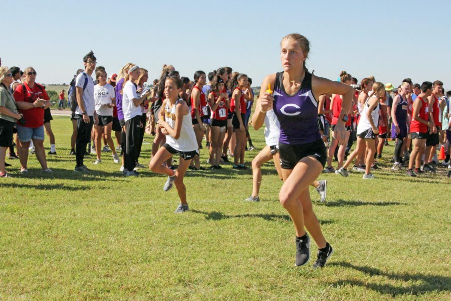 Senior Caitlynne Speegle runs the six-mile relay at Canyon in August.