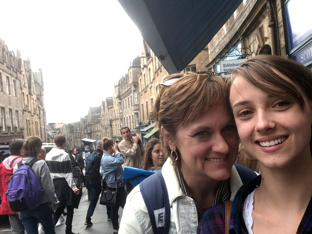 Junior Erin Riley and her mom stop to take a picture in Edinburgh, Scotland.