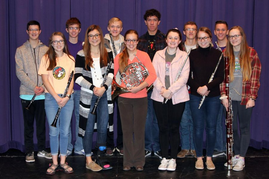 A record-setting 12 band members earned spots in the TMEA All-State Band. They include (left to right) Blake Usleton, Lily Williams, Charles Neal, Maggie Bell, Tobin Brooks, Aryauna Thompson, John Flatt, Bella Haynes, Ian Hughes, Kate McKinney, Cory Robbins, and Meghan Brooks.