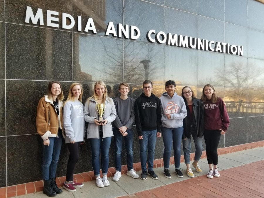 The journalism team won 176 points out of a total of 258 for Canyon High School. The team included Claire Meyer (junior), Macy McClish (junior), Faith Douglass (senior), Luke Bruce (junior), Blake Loria (sophomore), Alayshea Stewart (sophomore), Brooklyn Pernell (freshman) and Kodi Hicks (sophomore).
