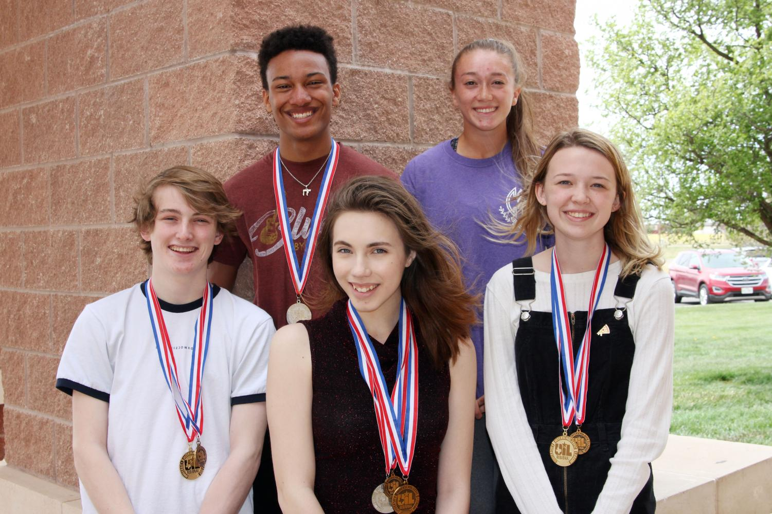 Seniors Erin Sheffield and Natalie Davis, juniors Luke Bruce and Claire Meyer and freshman Bronson Kwaku all qualified for UIL State.