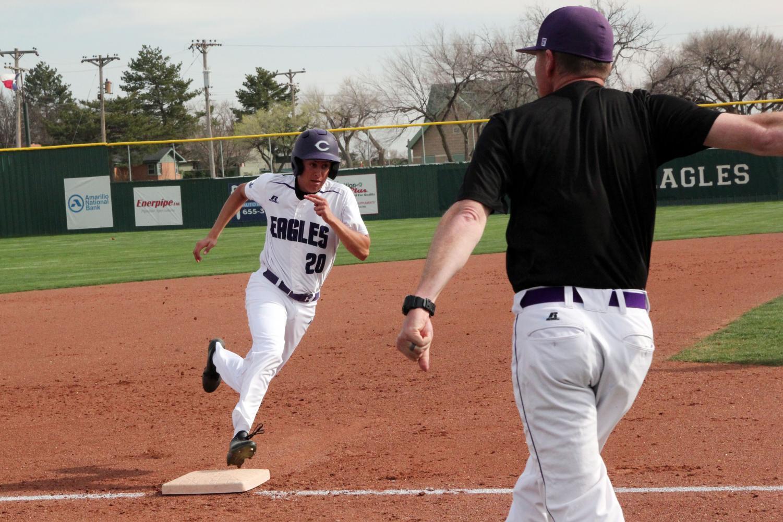 Junior Keith Contreras runs a base at the April 2 game against Lubbock Estacado.