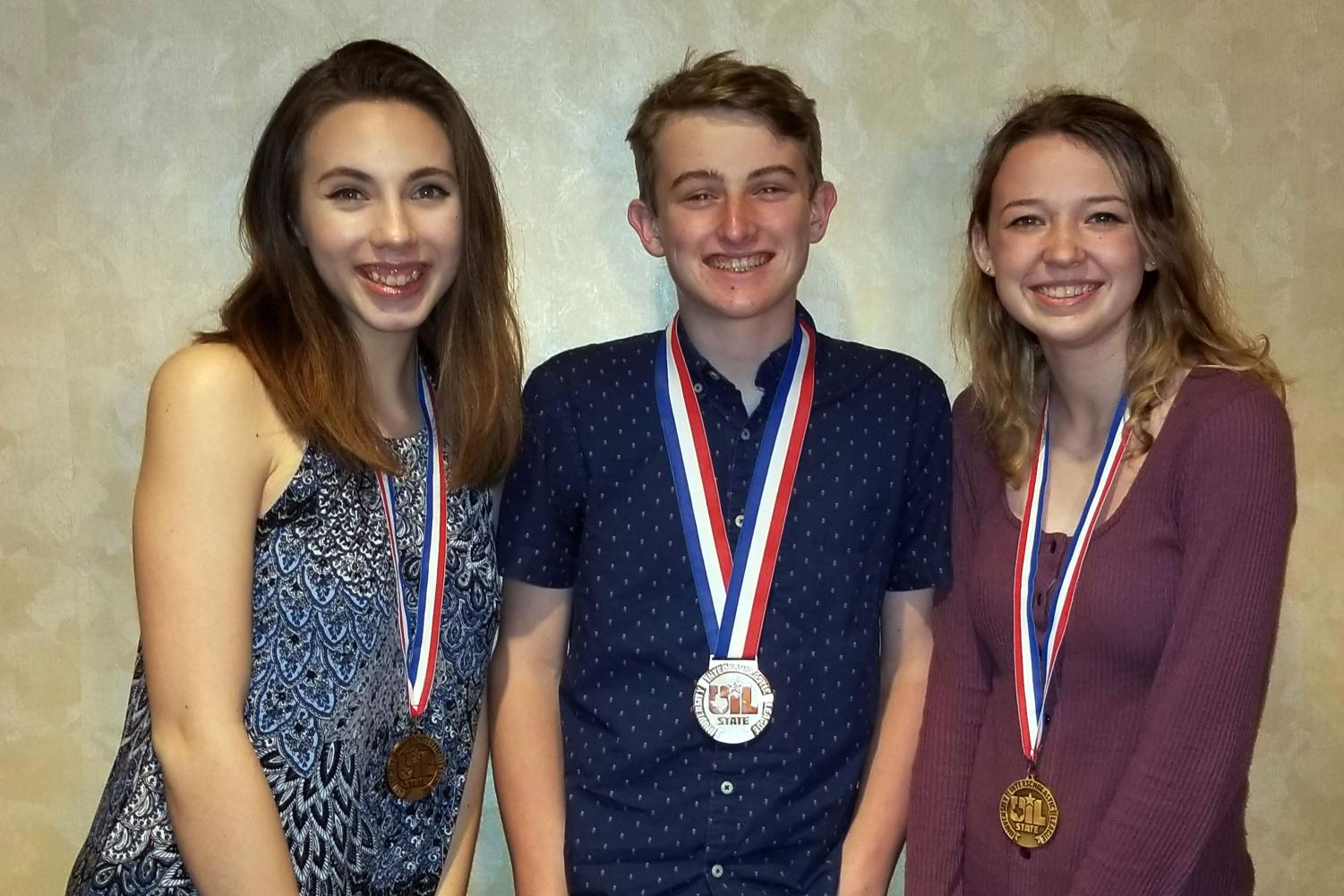 Medalists at the State UIL Academic Meet include Erin Sheffield, Luke Bruce and Claire Meyer.