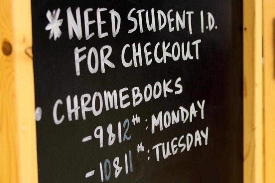 Students+will+check+out+their+Chromebooks+in+the+learning+commons.