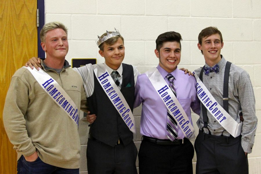 The+homecoming+king+nominees+were+Clay+Artho%2C+Keaton+Goss%2C+Jarrad+Gomez+and+Miles+Huffhines.+Goss+was+crowned+during+the+dodgeball+tournament+Thursday+night.