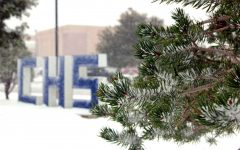 An early snowfall blankets the campus during lunch Thursday, Oct. 24.