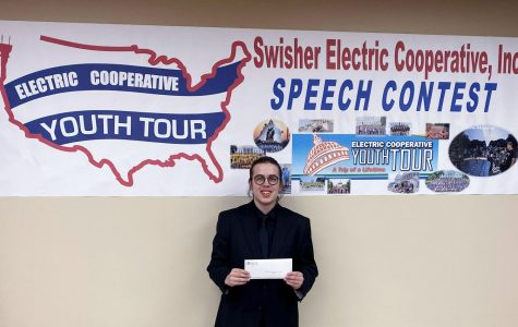 After winning the Swisher Electric Co-op contest, sophomore Josiah Kinsky will travel to  Washington D.C. June 17-26 .