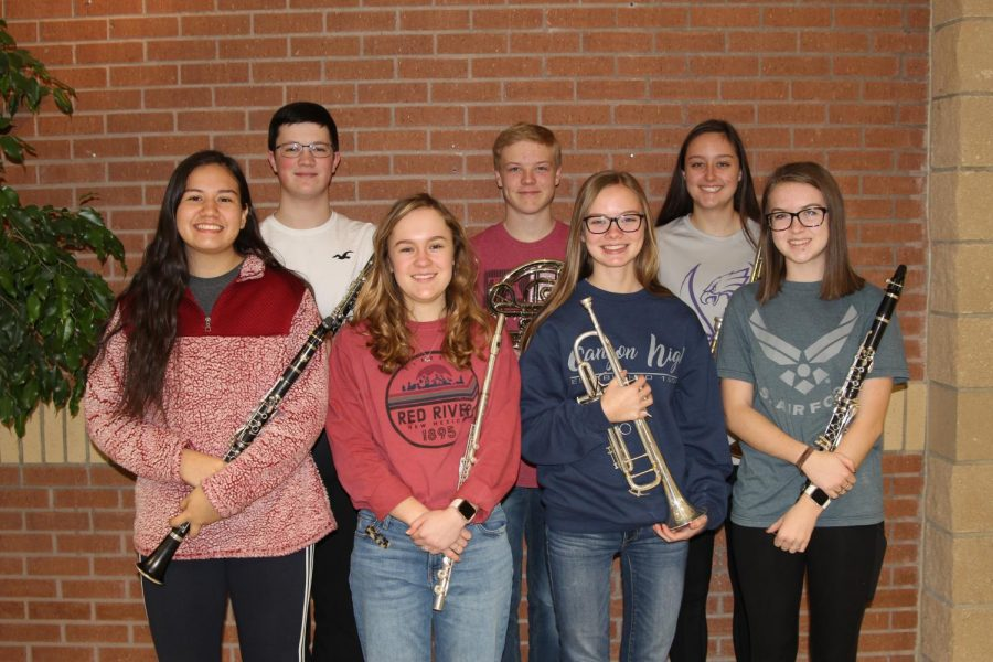 The seven Canyon students to qualify for 4A All-State Band include (left to right) junior Leigh Cano, sophomore Blake Usleton, junior Hannah Hamil, senior Wade House, junior Aubyn Nall, sophomore Bree Castleberry and junior Lily Williams.