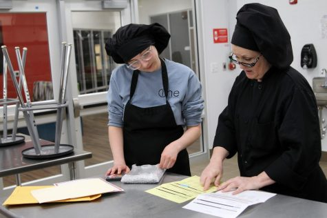 Senior Rebekah Higgins and her culinary arts teacher Carrie-Anne Stanglin discuss Higgins