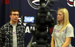 Seniors Blake Loria and Neely Wood film a discussion about the iConnect program while at the Canyon ISD District Support Center Friday, Jan. 15. The video will be published on Google's YouTube channel featuring the district's partnership with the tech company.