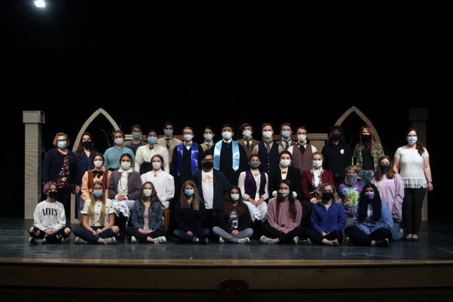 """The One-Act cast and crew placed seventh at UIL Regionals Monday, April 12, with their show, """"Blue Stockings,"""