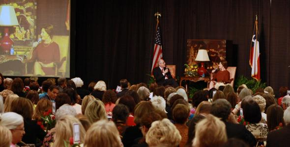 Former first lady Laura Bush speaks at the Amarillo Civic Center