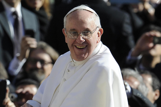 Pope Francis waves to the crowd from the papamobile during his inauguration mass  March 19, 2013 at the Vatican. World leaders flew in for the inauguration mass for Pope Francis in St Peter's Square on Tuesday where Latin America's first pontiff received the formal symbols of papal power. (Maurizio Brambatti/Ansa/Zuma Press/MCT)