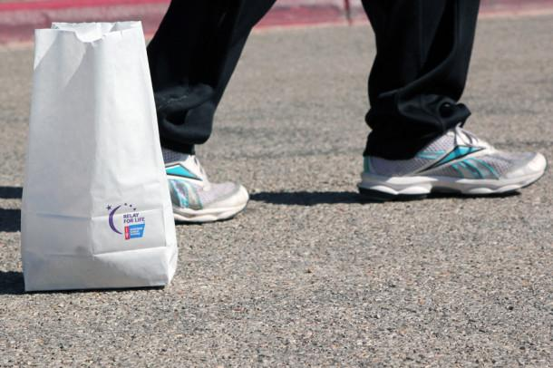 Luminarias are placed at Relay for Life to honor cancer survivers and in memory of those who have died.