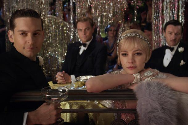 """Tobey Maguire, from left, as Nick Carraway, Leonardo DiCaprio, as Jay Gatsby, Carey Mulligan as Daisy Buchanan and Joel Edgerton as Tom Buchanan in Warner Bros. Pictures and Village Roadshow Pictures drama, """"The Great Gatsby,"""" a Warner Bros. Pictures release. (Courtesy of Warner Bros. Pictures/MCT)"""