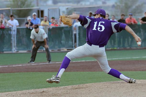 Senior Grant Glaze pitches against Amarillo High.