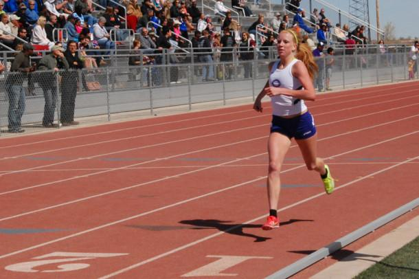 Senior Arin Rice competes at the district track meet.