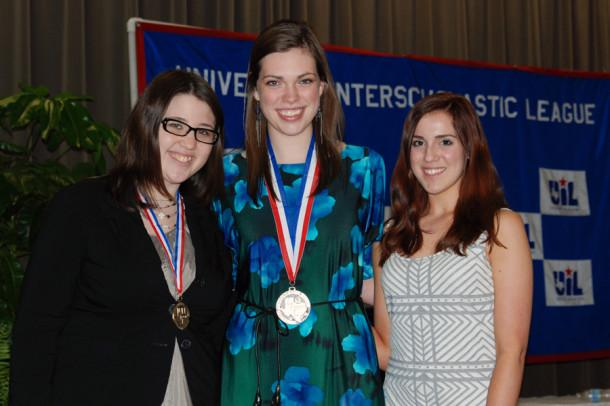 Seniors Jayden Beatty and Rachel Smith with junior Kori Adair at the State UIL Academic Meet May 21 in Austin.