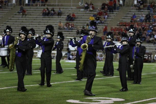 The Canyon band performes at halftime during the Plainview football game.