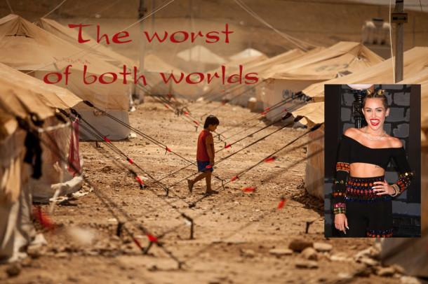 Staff photo illustration includes images of a Syrian refugee camp by Flo Smith and Miley Cyrus at the 2013 Video Music Awards by Nancy Kaszerman.