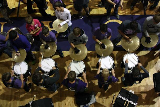 The drumline performs at the homecoming pep rally Oct. 18.