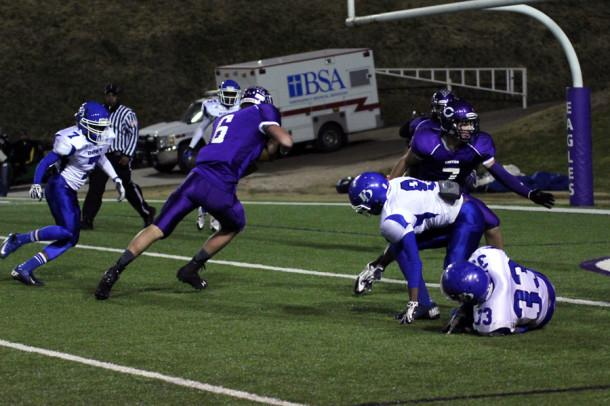 Junior Isaac Garland rushes into the end zone against the Palo Duro Dons Nov. 8.