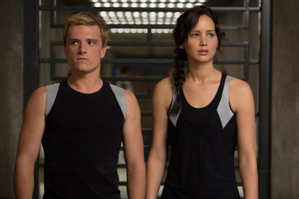Peeta Mellark (Josh Hutcherson, left) and Katniss Everdeen (Jennifer Lawrence) in The Hunger Games: Catching Fire.