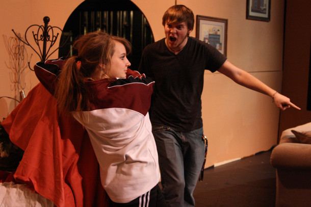 Junior Blakelee Brownd's character, Rhonda Lynn, attempts to hide a secret while senior Josh Collins' character ,Dub Dubberly, tries to urge her out.