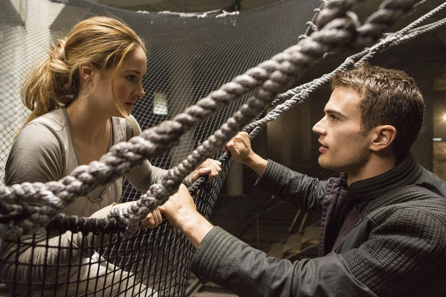 Shailene Woodley (left) and Theo James (right) star in