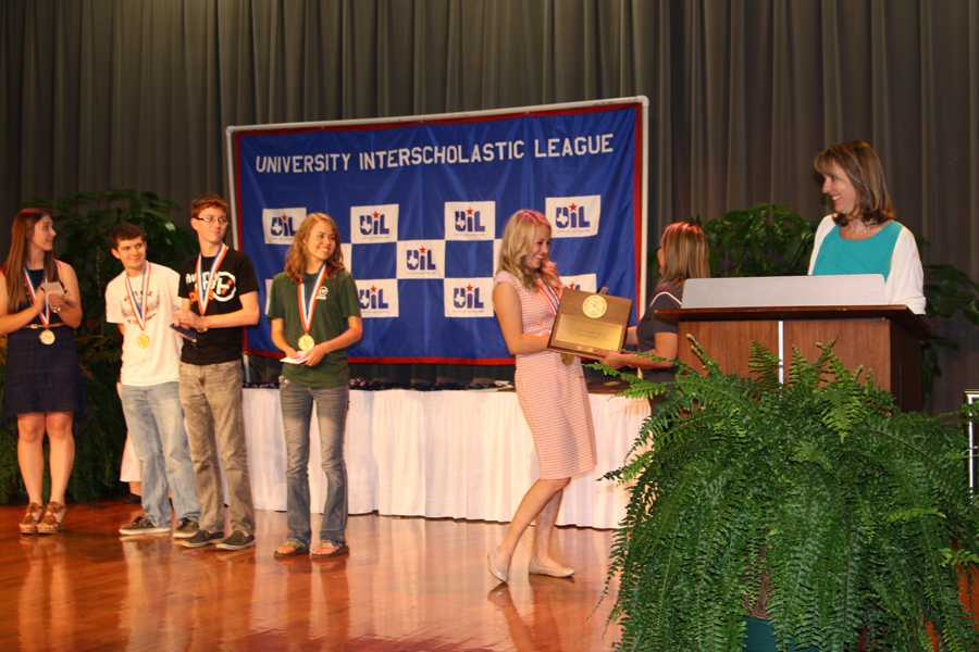 Senior Cortlyn Dees is named the overall state champion in news writing for 1A-5A.
