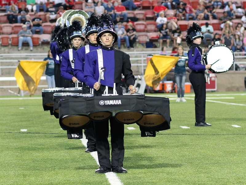 Sophomore Blaine Fortin plays the Fight Song at the end of the halftime performance Aug. 29.