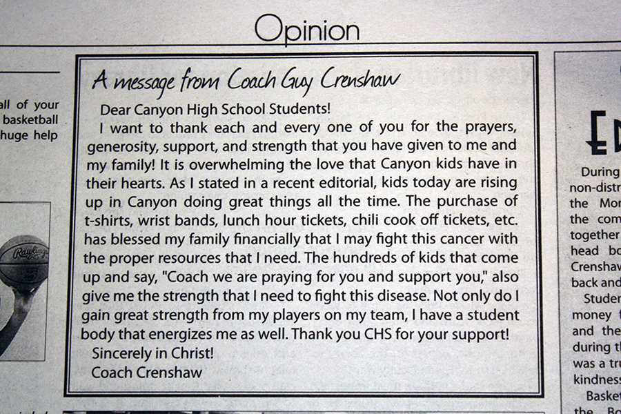 Coach Crenshaw thanked the community for their support in this message printed in the Feb. 8, 2013 print edition of The Eagle's Tale.