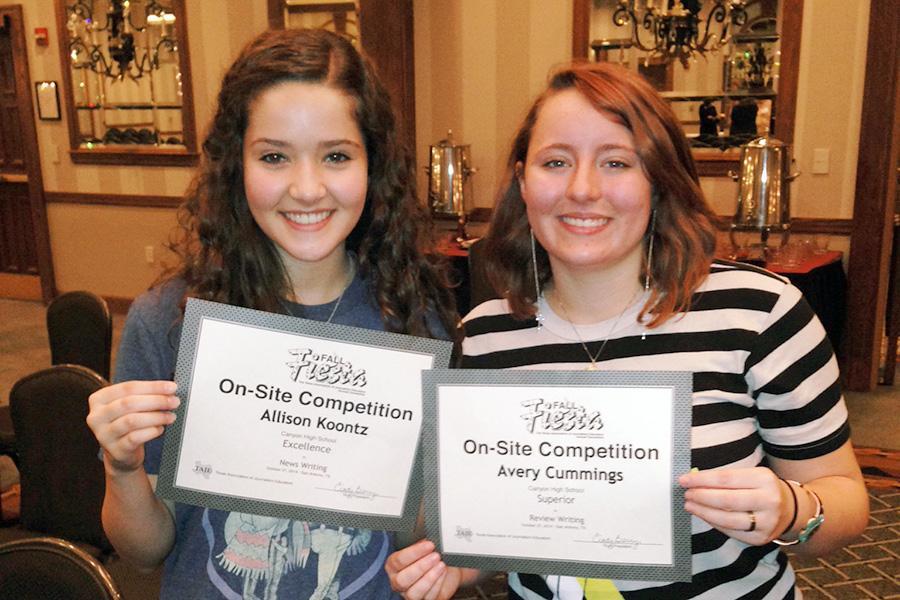 Juniors Allison Koontz and Avery Cummings won writing awards at the TAJE state convention in San Antonio.