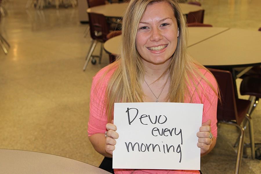 Senior Shae Hawethorne resolves to have Devo every morning.