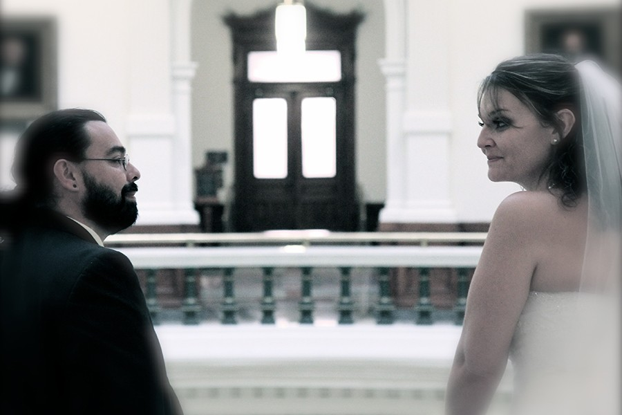 Raul and Stefanie Rodarte-Suto at the Texas State Capitol after their wedding.